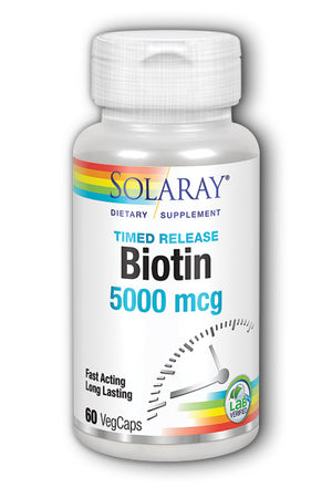 A bottle of Solaray Biotin 5000 mcg, Timed-Release