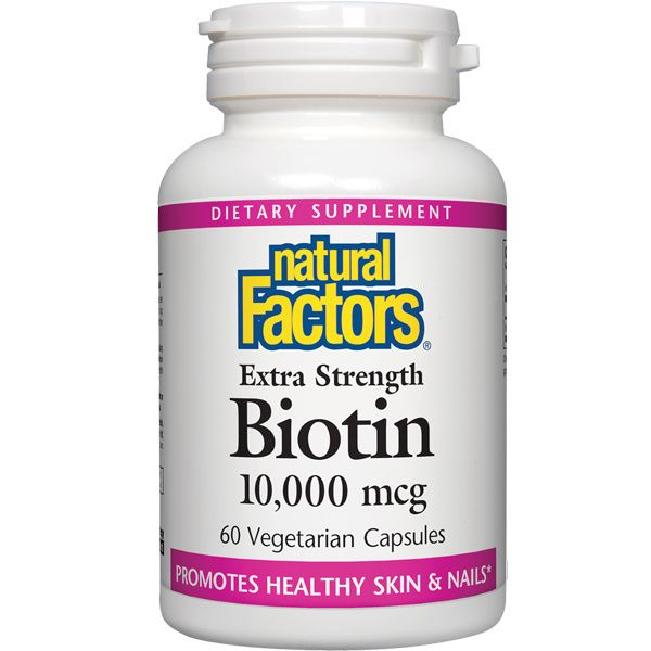 A bottle of Natural Factors Biotin Extra Strength 10,000 mcg