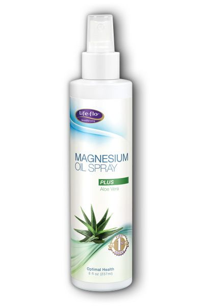 A bottle of Life-flo Magnesium Oil Spray with Aloe Vera