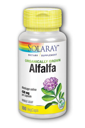 A bottle of Solaray Organically Grown Alfalfa