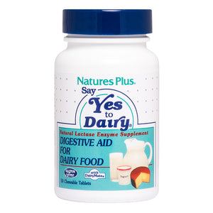 A bottle of Nature's Plus Say Yes to Dairy® Chewable Natural Lactase Enzyme