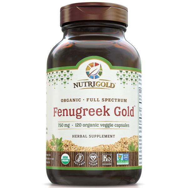A bottle of NutriGold Fenugreek Gold