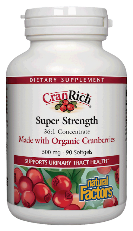 A bottle of Natural Factors CranRich Super Strength 500 mg Organic Cranberries