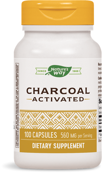 A pill bottle of dietary supplement that reads Charcoal Activated