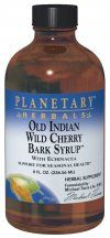 A bottle of Planetary Herbals Old Indian Wild Cherry Bark Syrup