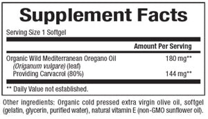 Supplement Facts for Natural Factors Oil of Oregano 180 mg