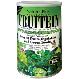 A jar of Nature's Plus FRUITEIN® Revitalizing Green Foods Shake