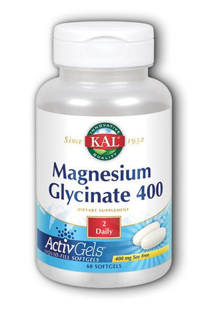 A bottle of KAL Magnesium Glycinate 400 ActivGels