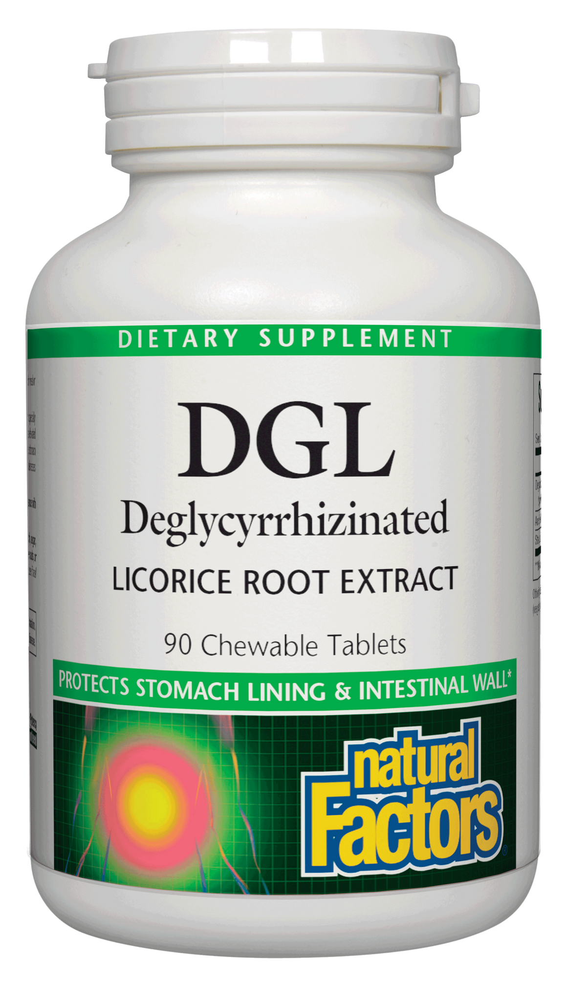 A bottle of Natural Factors DGL 400 mg · Deglycyrrhizinated Licorice Root Extract