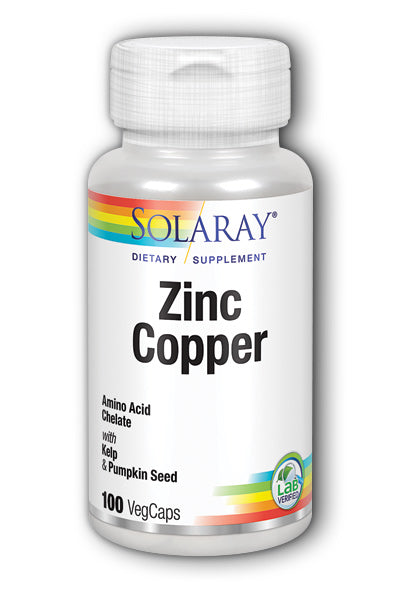 A bottle of Solaray Zinc Copper