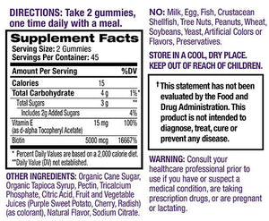 Supplmental Facts for Natrol Hair, Skin & Nails Gummies