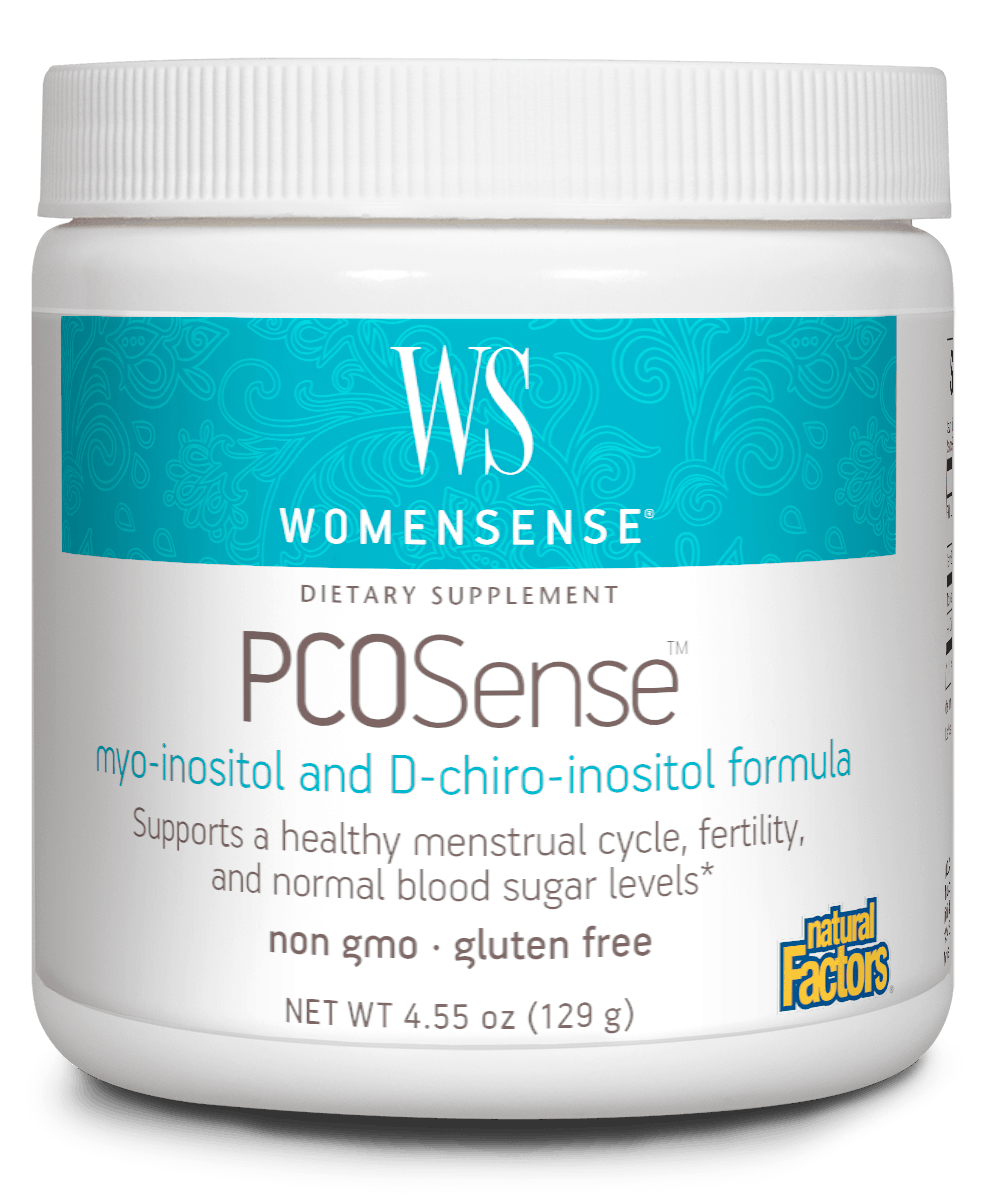 A jar of Natural Factors WomenSense® PCOSense™