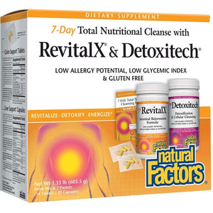 A package of Natural Factors RevitalX® & Detoxitech® 7 Day Total Nutritional Cleansing Program