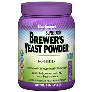 A jar of Bluebonnet Super Earth® Brewer's Yeast Powder