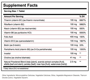 "Supplement Facts for Solgar B-Complex ""100"""