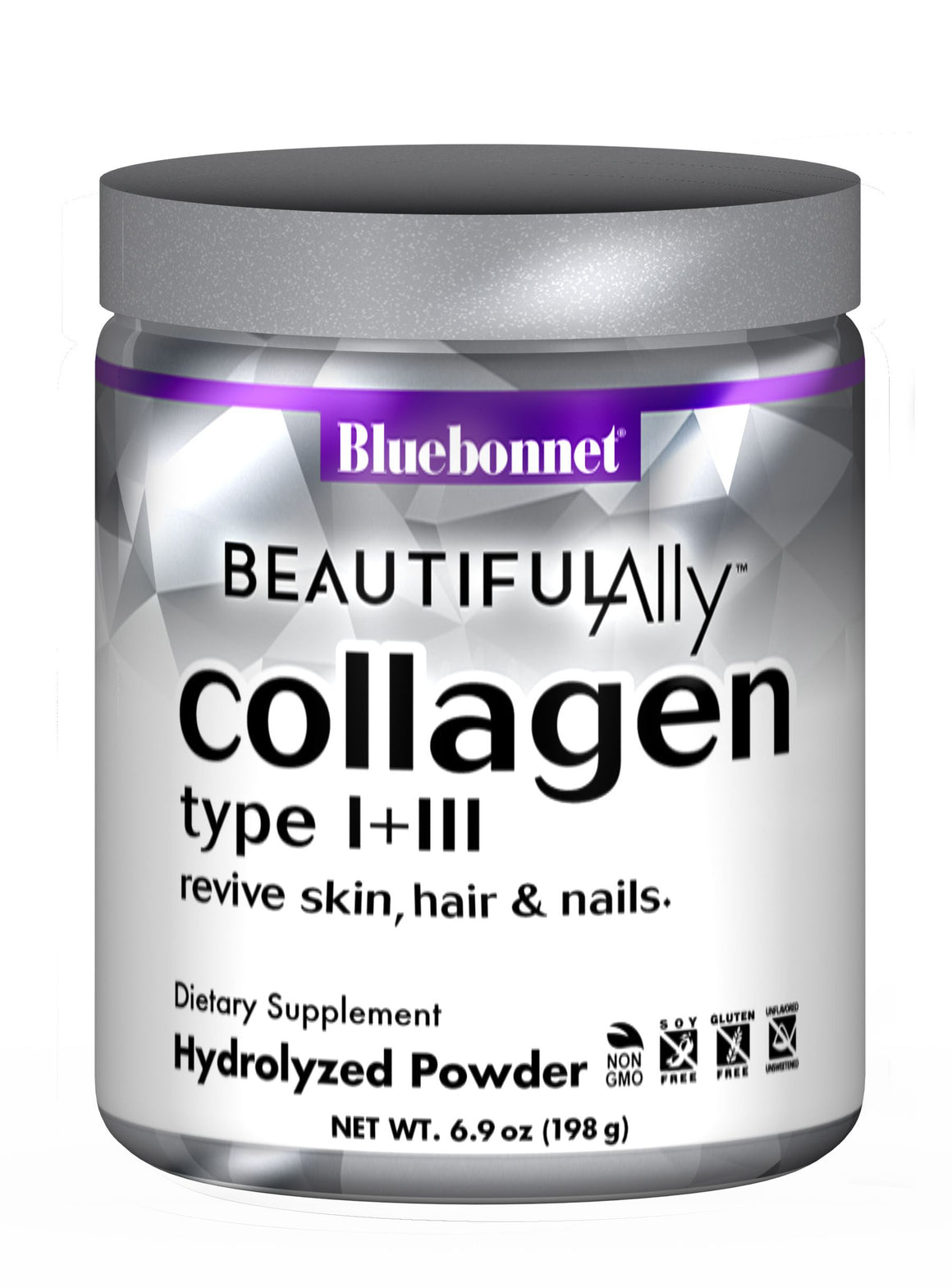 A jar of Bluebonnet BEAUTIFUL ALLY® COLLAGEN TYPE I + III POWDER