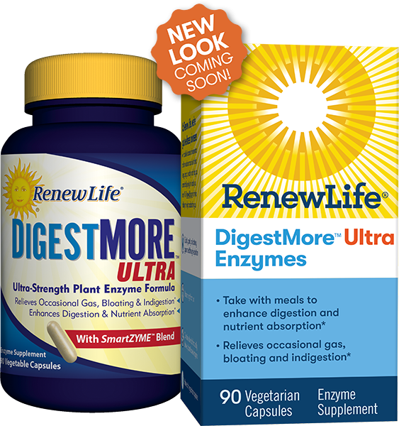 A bottle and package of Renew Life DigestMore Ultra