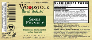 A label with Supplemental Facts for Woodstock Herbal Products Sinus Formula
