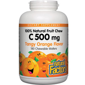 A bottle of Natural Factors Vitamin C 500 mg 100% Natural Fruit Chew Tangy Orange