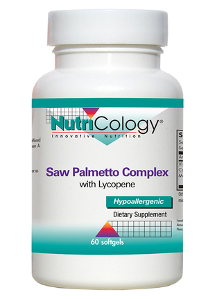 A bottle of NutriCology Saw Palmetto Complex