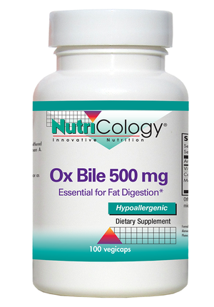 A bottle of NutriCology Ox Bile 500 mg