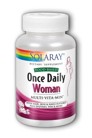 A bottle of Solaray Once Daily Woman Food Based Multivitamin