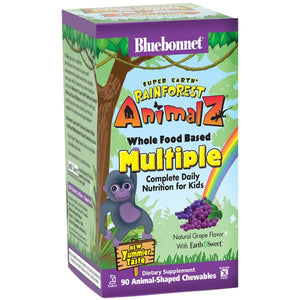 A package of Bluebonnet Super Earth® Rainforest Animal® Whole Food Based Multiple - Grape