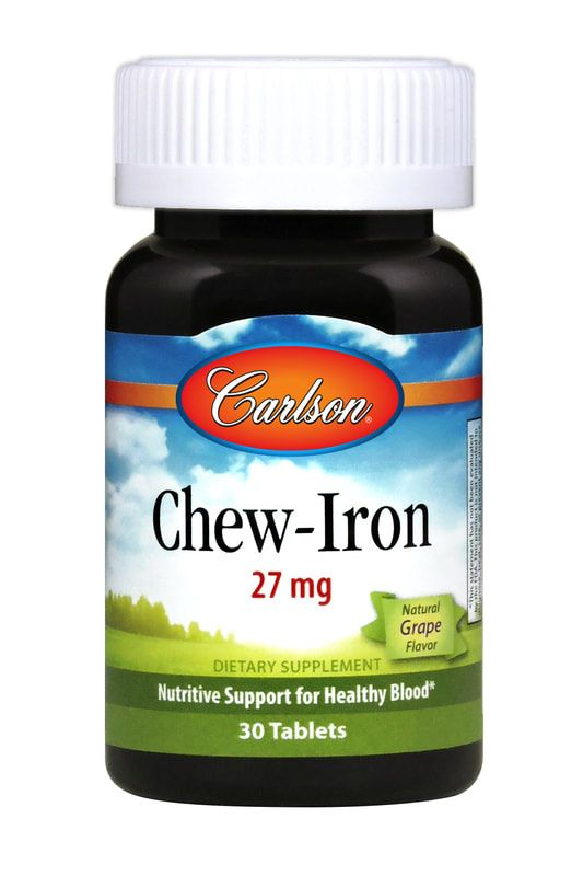 A bottle of Carlson Chew-Iron