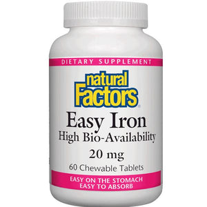 A bottle of Natural Factors Easy Iron 20 mg Chewable