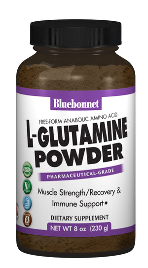 A bottle of Bluebonnet L-Glutamine Powder