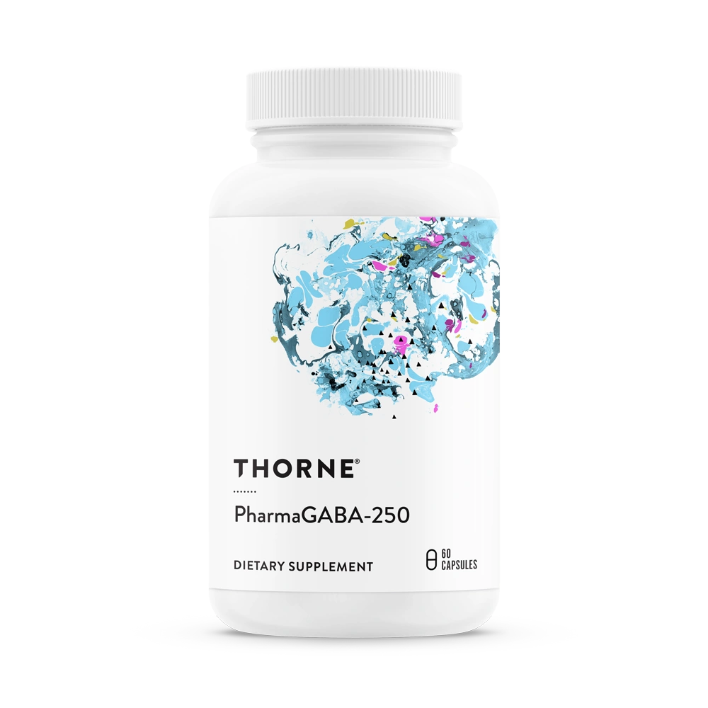 A bottle of Thorne PharmaGABA-250