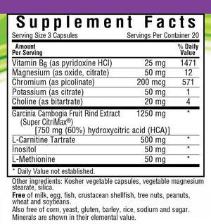 Supplement Facts for Bluebonnet Skinny Garcinia®