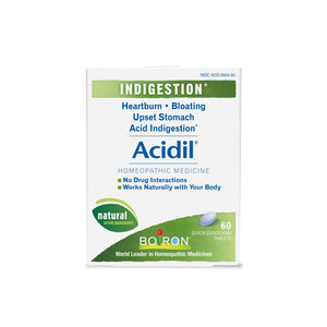 A box of medical tablets that reads Acidil