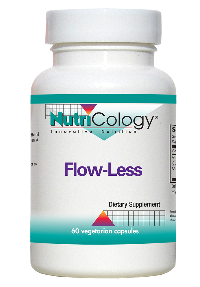 A bottle of NutriCology Flow-Less