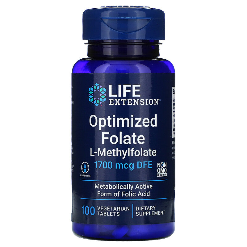 A bottle of Life Extension Optimized Folate L-Methylfolate