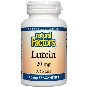 A bottle of Natural Factors Lutein 20 mg