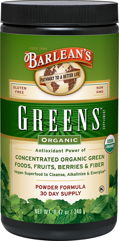 A jar of Barleans Organic Greens™ Powder - Natural Flavor