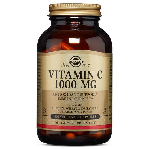 A bottle of Solgar Vitamin C 1000 mg