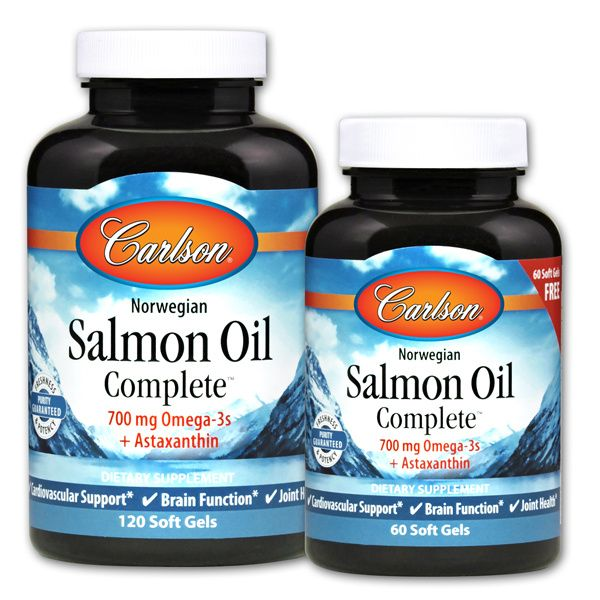 Two bottles of Carlson Salmon Oil Complete™