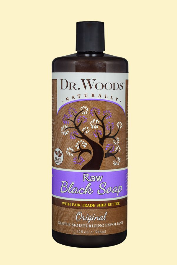 A bottle of Dr. Woods Raw Black Original with Fair Trade Organic Shea Butter