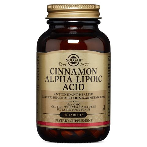 A bottle of Solgar Cinnamon Alpha Lipoic Acid