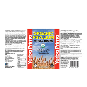 Label with additional info and supplemental facts for Yerba Prima Organic Psyllium Whole Husks