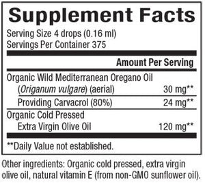 Supplement Facts for Natural Factors Certified Organic Oil of Oregano