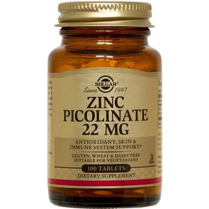 A bottle of Solgar Zinc Picolinate 22 mg