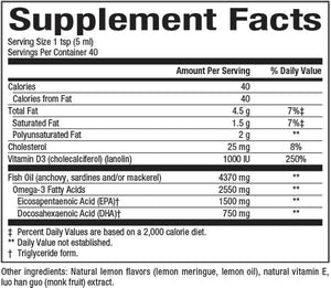 Supplement Facts for Naturals Factors SeaRich™ Omega-3 1500 mg EPA / 750 mg DHA with Vitamin D3 1000 I.U. Lemon Meringue
