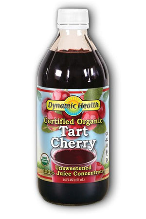 A bottle of Dynamic Health Tart Cherry Concentrate Certified