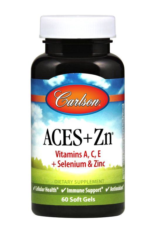 A small dark bottle with a colorful label that reads Aces+Zn