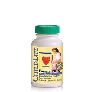 A bottle of ChildLife Prenatal DHA