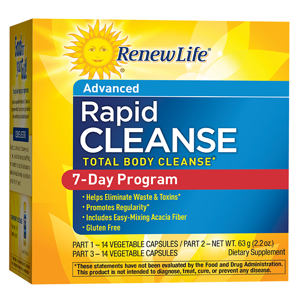 A package of Renew Life Total Body Rapid Cleanse, 7-Day