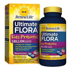 A package and bottle of Renew Life ULTIMATE FLORA KIDS PROBIOTIC 3 BILLION